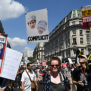 Ten of Thousands Women march against Trump racist and against women BringTheNoise #Metoo and cruelty against migrant children visit in London, UK. July 13 2018.