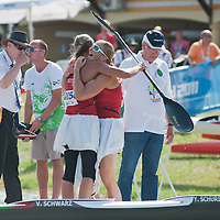 Yvonne Schuring (R) and Viktoria Schwarz (L) from Austria celebrate their victory in the K2 women Kayak 500m final of the 2011 ICF World Canoe Sprint Championships held in Szeged, Hungary on August 20, 2011. ATTILA VOLGYI