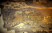 Jerusalem on the Madaba Map. The Madaba Map, a Byzantine mosaic map of the old city walled city of Jerusalem with the cardo running from north to south