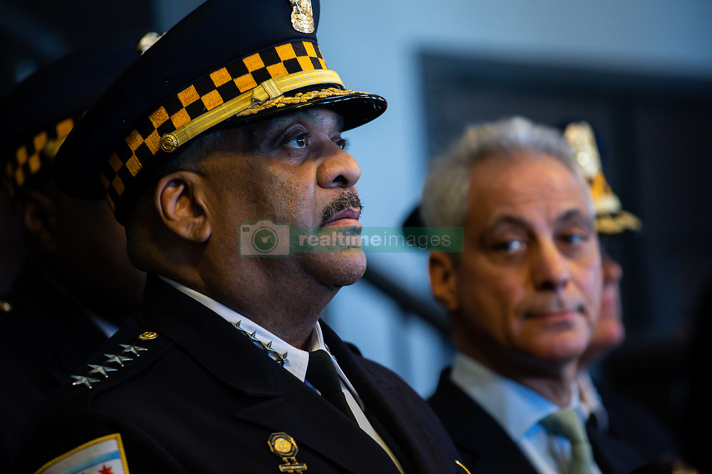 March 26, 2019 - Chicago, Illinois, U.S. - Chicago Police Superintendent EDDIE JOHNSON, left, and Chicago Mayor RAHM EMANUEL, right, react to news about Cook County prosecutors decision to drop charges against actor Jussie Smollett at Navy Pier's Grand Ballroom on Tuesday. (Credit Image: © Zbigniew Bzdak/Chicago Tribune/TNS via ZUMA Wire)