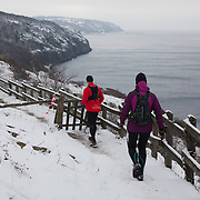 Runners make their way down the path from Hammershus to the sea below.  Salomon Hammer Trail Winter Edition is a first on Bornholm and is one of the toughest routes in Denmark. The 4 runs consist of a 50 mile run, a marathon, a 1/2 marathon and 10k all run a on an approximate 25km route which includes 860 meter vertical rise on the North East coast of the Danish island Bornholm. The cut-off time for the 50mile run was 16 hours and more than a hundred runners made it to the finishing line. The last runner across the line after 50 miles  was in after 15:14:40