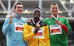 Authorised Neutral Athlete Sergey Shubenkov (silver) Jamaica's Omar Mcleod (gold) and Hungary's Balazs Boji (bronze) on the podium for the Men's 110m Hurdles during day five of the 2017 IAAF World Championships at the London Stadium. PRESS ASSOCIATION Photo. Picture date: Tuesday August 8, 2017. See PA story ATHLETICS World. Photo credit should read: Yui Mok/PA Wire. RESTRICTIONS: Editorial use only. No transmission of sound or moving images and no video simulationduring day five of the 2017 IAAF World Championships at the London Stadium. PRESS ASSOCIATION Photo. Picture date: Tuesday August 8, 2017. See PA story ATHLETICS World. Photo credit should read: Adam Davy/PA Wire. RESTRICTIONS: Editorial use only. No transmission of sound or moving images and no video simulation