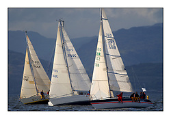 Yachting- The start of the Bell Lawrie Scottish series 2002 at Gourock racing overnight to Tarbert Loch Fyne where racing continues over the weekend.<br /><br />Jezabel First 30ES 1354C, Cara of Kip Moody 336 2160C and Troy Mistral31 GBR5318.<br />Class 4<br /><br />Pics Marc Turner / PFM