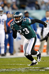 Philadelphia Eagles cornerback Dimitri Patterson #23 during the NFL Game between the Indianapolis Colts and the Philadelphia Eagles. The Eagles won 26-24 at Lincoln Financial Field in Philadelphia, Pennsylvania on Sunday November 7th 2010. (Photo By Brian Garfinkel)