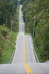 A fun rural Missouri road during the Motorcycle Cannonball Race of the Century. Stage-6 from Cape Girardeau, MO to Springfield, MO. USA. Thursday September 15, 2016. Photography ©2016 Michael Lichter.