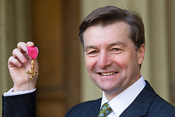Richard Leman poses with his OBE for services to hockey, awarded at an investiture by HRH The Prince of Wales at Buckingham Palace in London. London, February 07 2019.