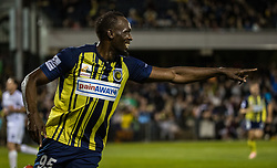 CAMPBELLTOWN, Oct. 12, 2018  Jamaican Olympic gold medalist Usain Bolt of Central Coast Mariners celebrates after scoring during a charity football game between Central Coast Mariners and Macarthur South West United in Campbelltown, Australia, Oct. 12, 2018. Usain Bolt scored his first goals in professional football games on Friday. (Credit Image: © Zhu Hongye/Xinhua via ZUMA Wire)