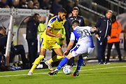 Jake Jervis (10) of AFC Wimbledon takes on Michael Kelly (28) of Bristol Rovers during the EFL Sky Bet League 1 match between Bristol Rovers and AFC Wimbledon at the Memorial Stadium, Bristol, England on 23 October 2018.