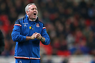 Paul Lambert, the manager of Stoke City shouts to his players from the touchline. Premier league match, Stoke City v Manchester City at the Bet365 Stadium in Stoke on Trent, Staffs on Monday 12th March 2018.<br /> pic by Andrew Orchard, Andrew Orchard sports photography.