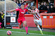 Craig Braham-Barrett on the attack during the The FA Cup match between Cheltenham Town and Dover Athletic at Whaddon Road, Cheltenham, England on 7 December 2014.