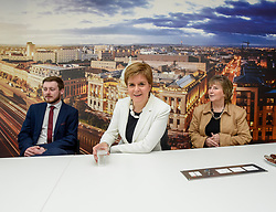 Pictured: Nicola Sturgeon met with university worker Lukas Olech from Poland (left) and University Human Resources Director Christine Barr (right)<br /> <br /> SNP leader Nicola Sturgeon met workers at Glasgow University from the EU ahead of next week's European elections.<br /> <br /> © Dave Johnston / EEm