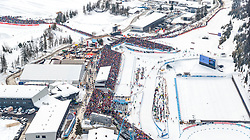 18.02.2017, Biathlonarena, Hochfilzen, AUT, IBU Weltmeisterschaften Biathlon, Hochfilzen 2017, Staffel Herren, im Bild Luftaufnahme des Tüpl Hochfilzen und des Biathlon Stadions mit Zuschauern // Aerial view of the Militäry Base Hochfilzen and the Biathlon Stadium with spectators during men's Relay of the IBU Biathlon World Championships at the Biathlonarena in Hochfilzen, Austria on 2017/02/18. EXPA Pictures © 2017, PhotoCredit: EXPA/ JFK