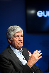 """HANDOUT - Maurice Lévy, Chairman of the Supervisory Board, Publicis Groupe, France speaking during the Session """"Europe between Vision and Dilemma"""" at the Annual Meeting 2018 of the World Economic Forum in Davos, January 25, 2018. Photo by Christian Clavadetscher/World Economic Forum via ABACAPRESS.COM"""