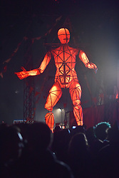© Licensed to London News Pictures. 08/08/2015. Cornbury Park, Charlbury, Oxfordshire. The Saturday Spectacle. A towering human figure walked through the crowd. The Wilderness Festival 2015 at Cornbury Park in Oxfordshire. Photo credit : MARK HEMSWORTH/LNP