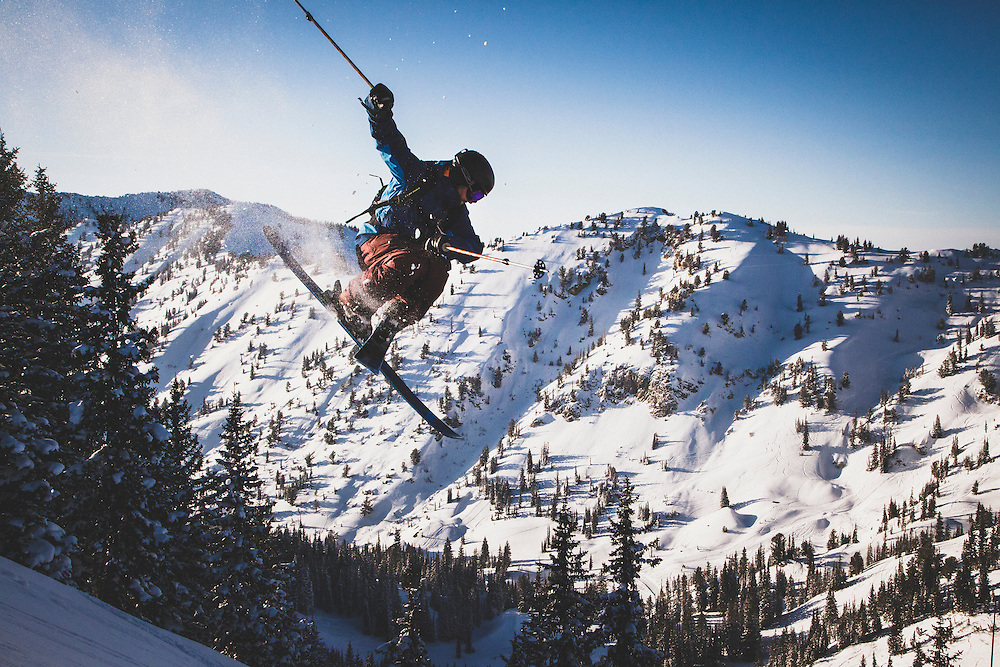 Mike Quigley crosses it up in the Wasatch backcountry, Utah.