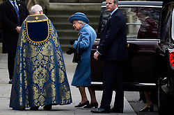 © Licensed to London News Pictures. 09/03/2020. LONDON, UK. The Queen arrives at Westminster Abbey to attend the annual church service on Commonwealth Day.  Photo credit: Stephen Chung/LNP
