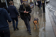 A homeless man counts coins while walking along Great Marlborough Street with his dog, on 19th October 2017, in London, England.
