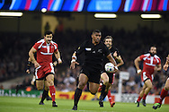 Waisake Naholo of the New Zealand  on his way to scoring his teams 1st try. Rugby World Cup 2015 pool c match, New Zealand v Georgia at the Millennium Stadium in Cardiff, South Wales  on Friday 2nd October 2015.<br /> pic by  Andrew Orchard, Andrew Orchard sports photography.