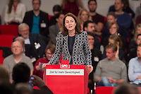 19 MAR 2017, BERLIN/GERMANY:<br /> Katarina Barley, SPD Generalsekretarin, haelt eine Rede, a.o. Bundesparteitag, Arena Berlin<br /> IMAGE: 20170319-01-069<br /> KEYWORDS: party congress, social democratic party, candidate, speech
