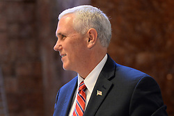 Vice President Elect Mike Pence walks through lobby of the Trump Tower in New York, NY, on November 22, 2016. (Anthony Behar / Pool)