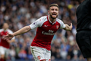 Shkodran Mustafi of Arsenal shows his frustration. Premier league match, Chelsea v Arsenal at Stamford Bridge in London on Sunday 17th September 2017.<br /> pic by Kieran Clarke, Andrew Orchard sports photography.