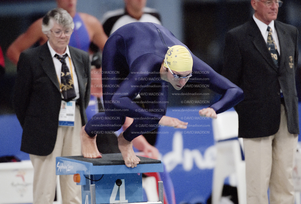 SYDNEY - SEPTEMBER 19:  Ian Thorpe of Australia competes in the Men's 4 x 200 meter freestyle swimming relay at the 2000 Olympic Games on September 19, 2000 at the Sydney International Aquatic Center in Sydney, Australia.  The Australian team won gold in the event and set a new World Record.  (Photo by David Madison/Getty Images)