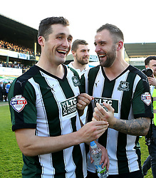 Carl McHugh of Plymouth Argyle and match winner Peter Hartley of Plymouth Argyle celebrate reaching the playoff final - Mandatory by-line: Robbie Stephenson/JMP - 15/05/2016 - FOOTBALL - Home Park - Plymouth, England - Plymouth Argyle v Portsmouth - Sky Bet League Two play-off semi-final second leg