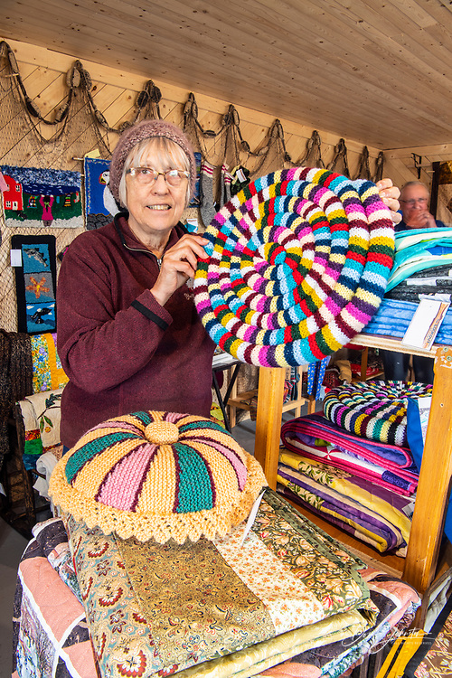 Wares for sale in the quilt shop, Fogo, Newfoundland and Labrador NL, Canada