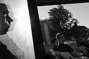 Cittadini del quartiere periferico Tiburtino III di Roma partecipano ad un incontro organizzato da Casapound per discutere del degrado e del centro d'accoglienza per rifugiati di via Frantoio. Roma 20 settembre 2017. Christian Mantuano / OneShot<br /> <br /> Citizen of Tiburtino III  in Rome suburbs discuss the immigration issue during a neighborhood meeting organized by the far right group Casapound. Rome 20 September 2017. Christian Mantuano / OneShot