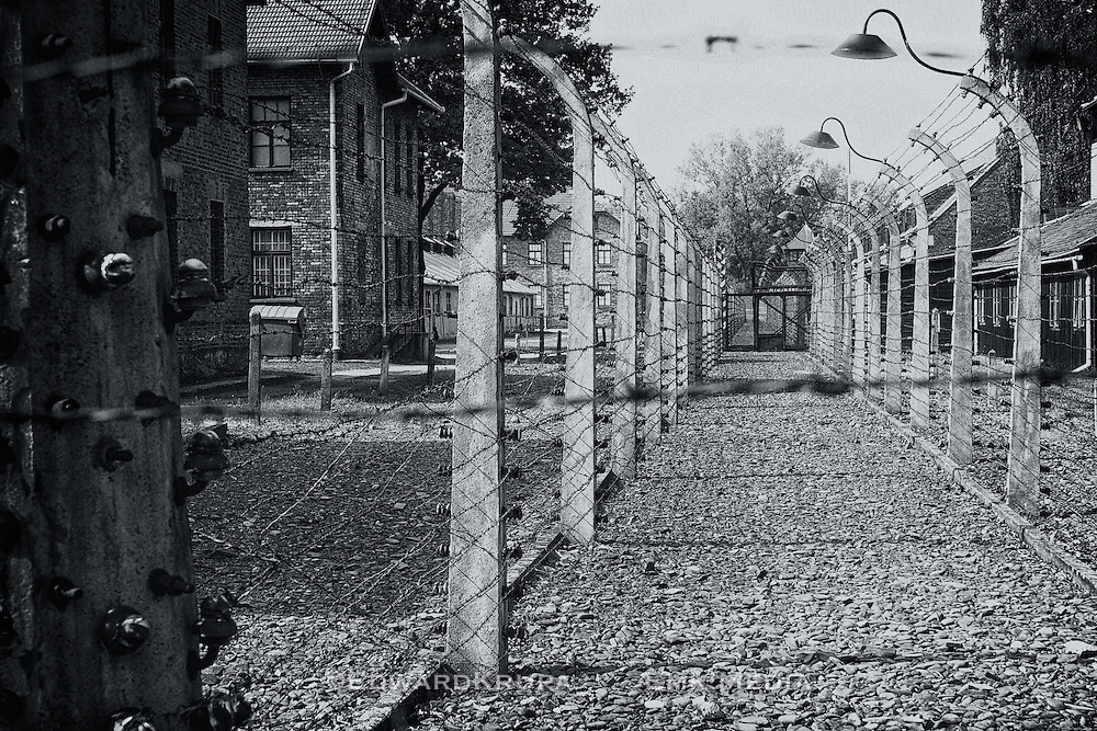 Electrified barrier between pioneers and staff in the concentration and extermination camp Auschwitz !, Poland.