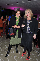 Left to right, actress REBECCA FRONT and HELEN LEDERER at a private view of photographs by Joanna Vestey entitled 'Dreams For My Daughter' in aid of The White Ribbon Alliance, held at The Royal Festival Hall, South Bank, London on 8th March 2012.