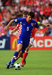 Vedran Corluka of Croatia during the UEFA EURO 2008 Group B soccer match between Austria and Croatia at Ernst-Happel Stadium, on June 8,2008, in Vienna, Austria.  (Photo by Vid Ponikvar / Sportal Images)