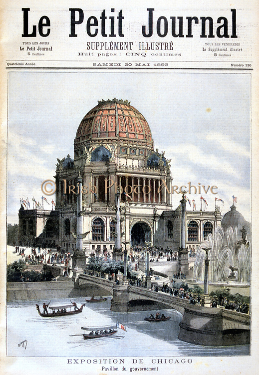 Chicago Exhibition, 1893: US government pavilion. From 'Le Petit Journal' Paris 20 May 1895.