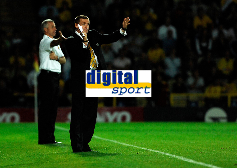 Photo: Richard Lane.<br />Watford v West Ham United. The Barclays Premiership. 22/08/2006. Watford's manager, Adrian Boothroyd.