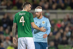 November 15, 2018 - Dublin, Ireland - Liam Boyce of N.Ireland and Shane Duffy of Ireland pictured during the International Friendly match between Republic of Ireland and Northern Ireland at Aviva Stadium in Dublin, Ireland on November 15, 2018  (Credit Image: © Andrew Surma/NurPhoto via ZUMA Press)