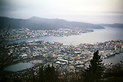 View over city and coastline from Bergen, Norway winter 1970 from Mount Fløyen