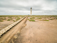 Aerial view of The Morro Jable Lighthouse in Fuerteventura, Canary Islands.
