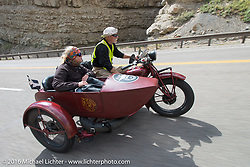 Gary Wright riding his 1930 Indian Chief with his wife Linda Bendorf in the sidecar during stage 11 (289 miles) of the Motorcycle Cannonball Cross-Country Endurance Run, which on this day ran from Grand Junction, CO to Springville, UT., USA. Tuesday, September 16, 2014.  Photography ©2014 Michael Lichter.