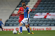 Oliver Rathbone wins a challenge during the EFL Sky Bet League 1 match between Rochdale and Gillingham at Spotland, Rochdale, England on 23 September 2017. Photo by Daniel Youngs.