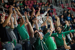 Fans of Siena during basketball match between KK Union Olimpija and Montepaschi Siena (ITA) of 7th Round in Group D of Regular season of Euroleague 2011/2012 on December 1, 2011, in Arena Stozice, Ljubljana, Slovenia. Sena defeated Union Olimpija 63-57. (Photo by Vid Ponikvar / Sportida)