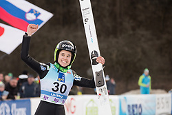 February 8, 2019 - Ursa Bogataj of Slovenia on podium celebrates her third place at first competition day of the FIS Ski Jumping World Cup Ladies Ljubno on February 8, 2019 in Ljubno, Slovenia. (Credit Image: © Rok Rakun/Pacific Press via ZUMA Wire)