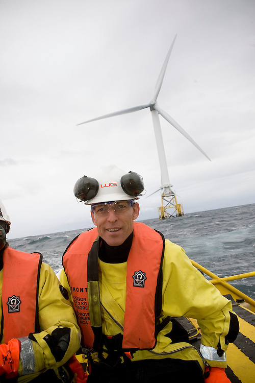 PICTURE OF SECRETARY OF STATE FOR SCOTLAND VISIT TO THE BEATRICE OIL PLATFORM AND WIND TURBINES ...  PIC OF JIM MURPHY DURING THE VISIT THE THE INSTALLATION OWNED BY ITHACA ENERGY ..PIC DEREK IRONSIDE / NEWSLINE SCOTLAND