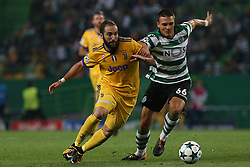 October 31, 2017 - Lisbon, Lisbon, Portugal - Juventus forward Gonzalo Higuain from Argentina (L) and Sportings midfielder Joao Palhinha from Portugal (R)  during the match between Sporting CP v Juventus FC UEFA Champions League playoff match at Estadio Jose Alvalade on October 31, 2017 in Lisbon, Portugal. (Credit Image: © Dpi/NurPhoto via ZUMA Press)