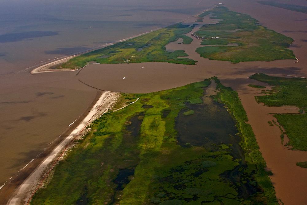 West bank of Southwest Pass, view toward Gulf of Mexico, Plaquemines Parish, Louisiana, USA