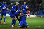 Marko Grujic of Cardiff city © celebrates with his teammates  after he scores his teams 2nd goal. EFL Skybet championship match, Cardiff city v Barnsley at the Cardiff city stadium in Cardiff, South Wales on Tuesday 6th March 2018.<br /> pic by Andrew Orchard, Andrew Orchard sports photography.