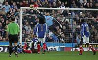 Photo: Lee Earle.<br /> Portsmouth v Charlton Athletic. The Barclays Premiership. 20/01/2007. Pompey keeper David James fails to keep out Amdy Faye's shot for Charlton's goal.