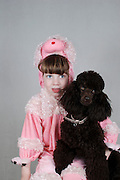 Israel, Purim A young Girl of 5 dressed up as in a pink sheep costume Model Release Available
