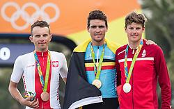 06.08.2016, Rio de Janeiro, BRA, Rio 2016, Olympische Sommerspiele, Strassenradrennen, Herren, im Bild v.l. Rafal Majka (POL, Bronzmedaille), Greg van Avermaet (BEL, Goldmedaille), Jakob Fuglsang (DEN, Silbermedaille) // f.l. Bronze Medalist Rafal Majka of Poland Gold Medalist Greg van Avermaet of Belgium Silver Medalist Jakob Fuglsang of Denmark during Mens Road Cycling the Rio 2016 Olympic Summer Games at the Rio de Janeiro, Brazil on 2016/08/06. EXPA Pictures © 2016, PhotoCredit: EXPA/ Johann Groder