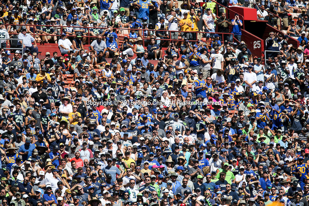 Crowd at the Los Angeles Memorial Coliseum during a NFL football game between Los Angeles Rams and Seattle Seahawks, Sunday, Sept. 18, 2016, in Los Angeles. The Rams won 9-3. (Photo by Ringo Chiu/PHOTOFORMULA.com)<br /> <br /> Usage Notes: This content is intended for editorial use only. For other uses, additional clearances may be required.