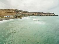 Aerial view of Puertito de Molinos coastline in Fuerteventura, Canary Islands.